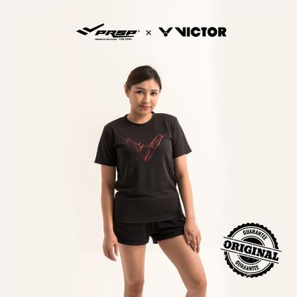 [VICTOR] UNISEX TRANNING R.NECK T-SHIRT (BLACK/RED)